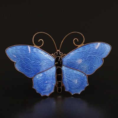 David Andersen Sterling Silver Enamel Butterfly Brooch