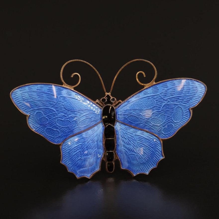 David Andersen Sterling Silver Enamel Butterfly Brooch