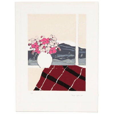 "Andre Vigud Lithograph ""Bouquet at the Window"""