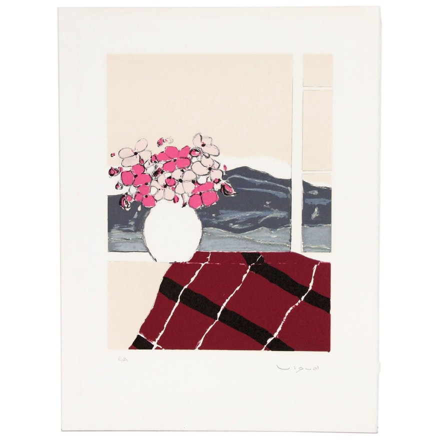 """Andre Vigud Lithograph """"Bouquet at the Window"""""""