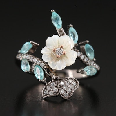 Oxidized Sterling Silver Floral Motif Ring Featuring Mother of Pearl and Apatite