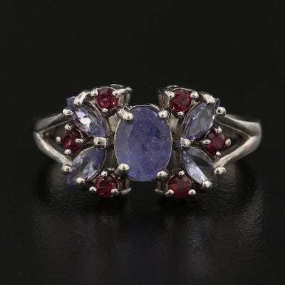 Sterling Silver Tanzanite and Rhodolite Garnet Ring