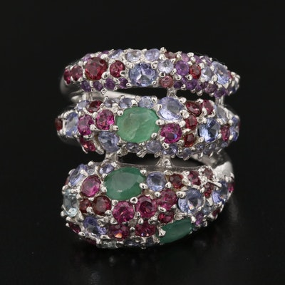 Sterling Silver Wrap Ring with Emerald, Rhodolite Garnet and Tanzanite