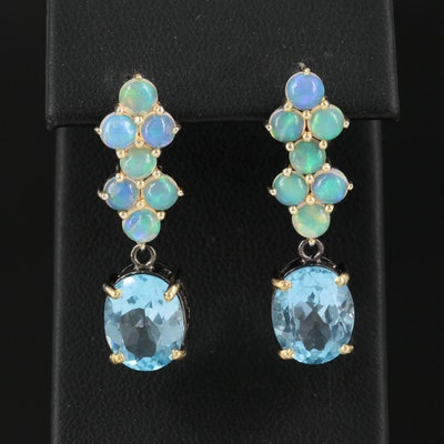 Sterling Silver Topaz and Opal Drop Earrings