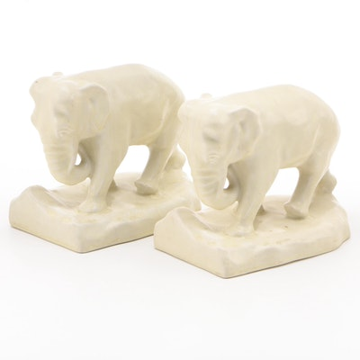 Rookwood Pottery White Glaze Ceramic Elephant Bookends, 1920