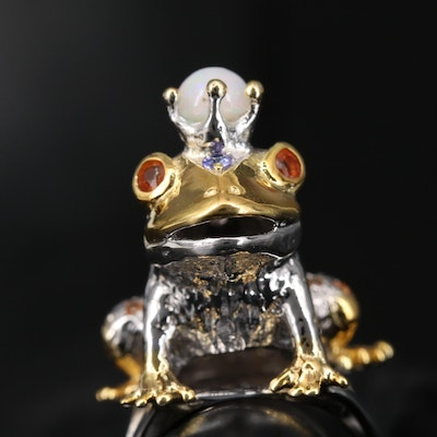 Sterling Silver Opal, Tanzanite and Sapphire Frog Prince Ring