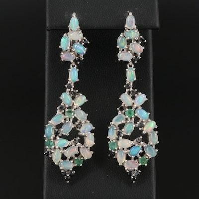 Sterling Opal, Emerald and Black Onyx Cluster Dangle Earrings