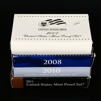 2007, 2008, 2010 and 2011 U.S. Mint Proof Sets