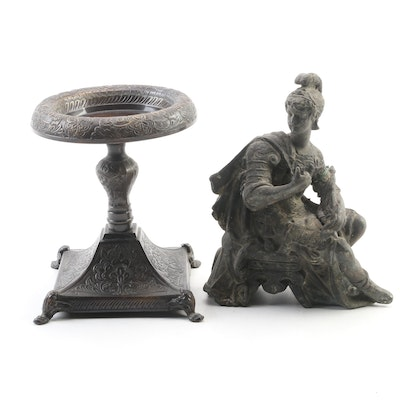 Neoclassical Roman Centurion Metal Figurine with Pillar Candle Holder