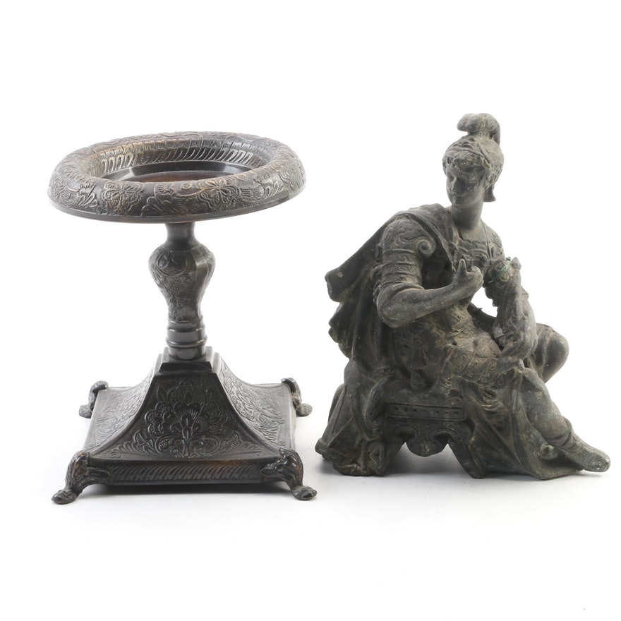 Neoclassical Roman Centurion Metal Figurine with Pillar Candle Holder