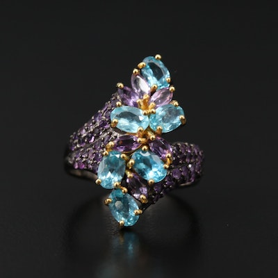 Sterling Silver Apatite and Amethyst Bypass Ring