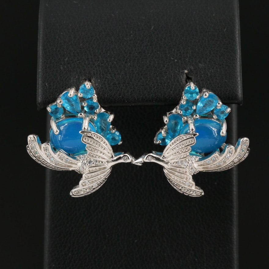 Sterling Silver Bird Motif Earrings with Apatite and Cubic Zirconia