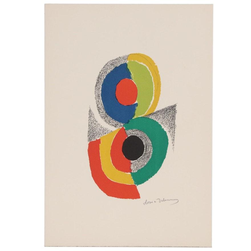 """Sonia Delaunay Color Lithograph """"Rythmes et Coleurs VI"""", 1971"""