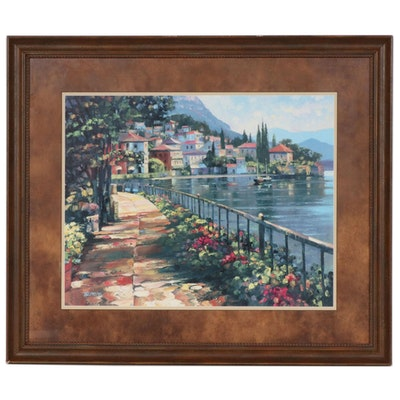 "Offset Lithograph after Howard Behrens ""Sunlit Stroll"""