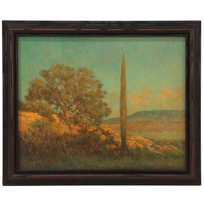 "Gary Armstrong Landscape Oil Painting ""Cypress - Black Star Canyon, Calif."""