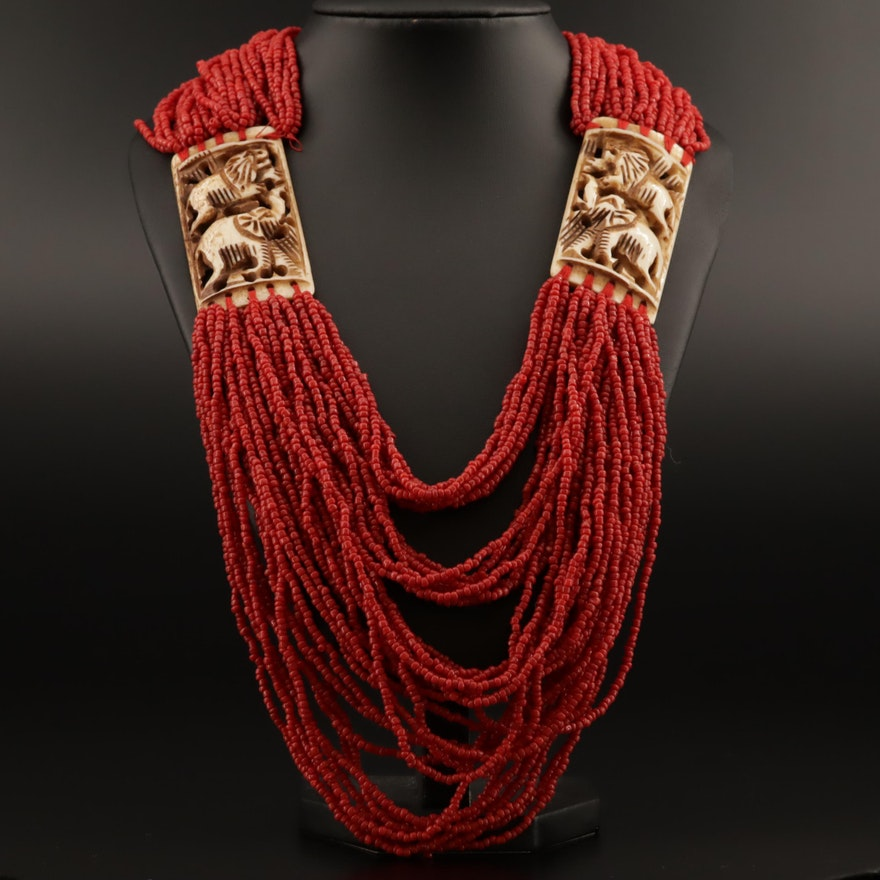 Indian Multi-Strand Carved Bone and Coral Beaded Necklace with Box