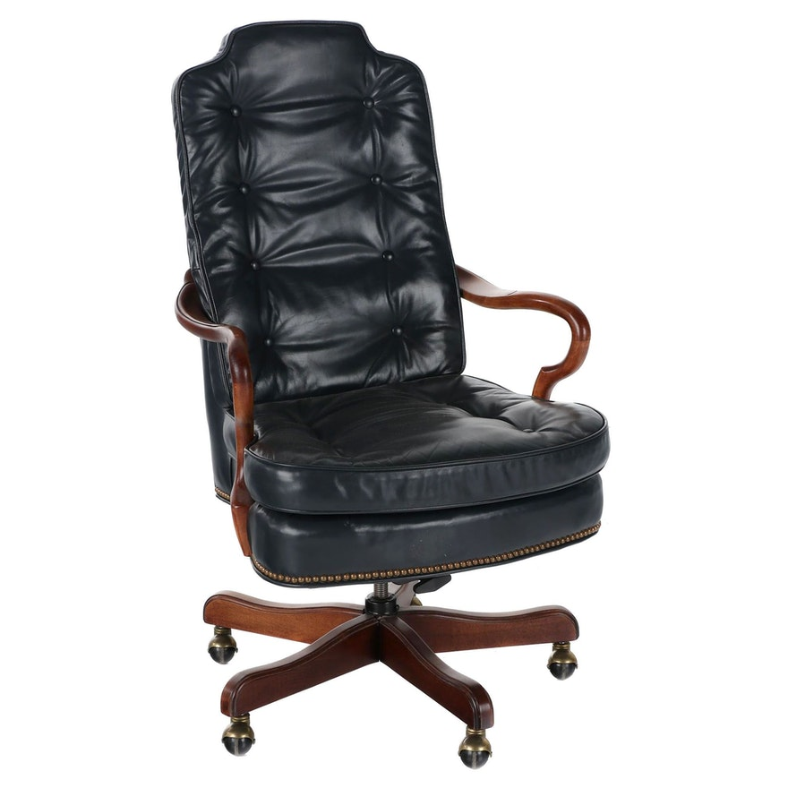 Hekman Furniture Leather Swivel Office Chair, Late 20th Century