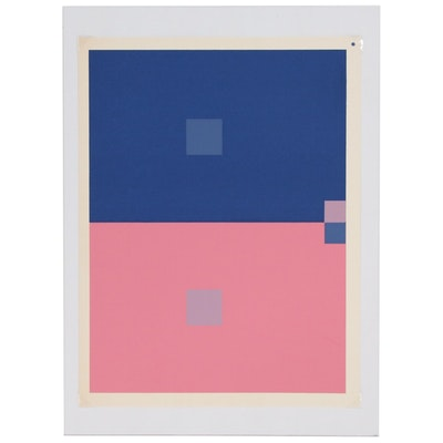 "Josef Albers Abstract Geometric Serigraph from ""Interaction of Color"", 1963"