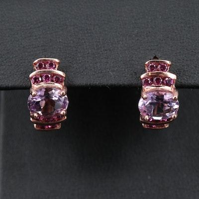 Sterling Silver Amethyst and Rhodolite Garnet J-Hoop Earrings