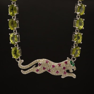 Sterling, Peridot, Ruby and Cubic Zirconia Leopard Necklace