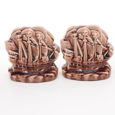 Rookwood Pottery Ship Bookends After William Purcell McDonald, 1944