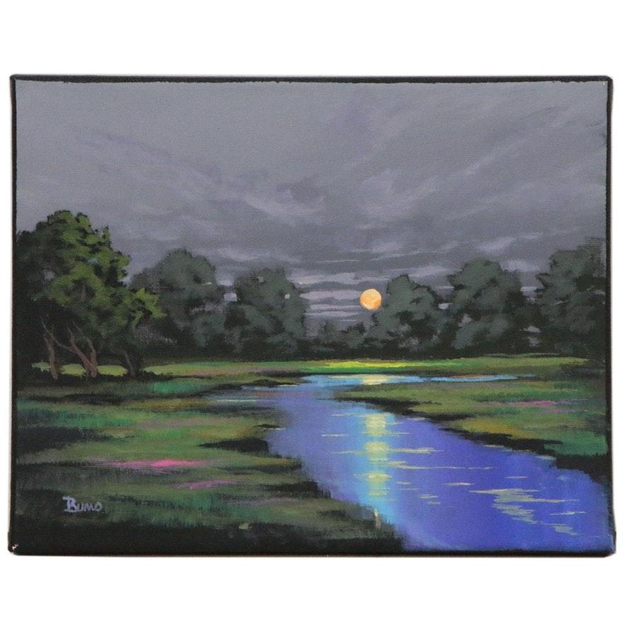 """Douglas """"Bumo"""" Johnpeer Landscape Oil Painting """"Oak Moon"""""""
