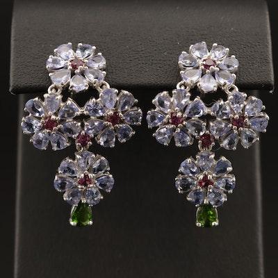 Sterling Silver Garnet, Tanzanite and Diopside Floral Cluster Earrings