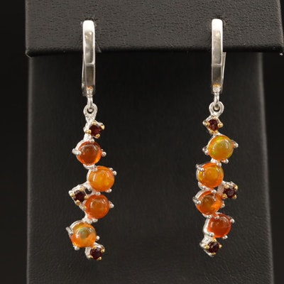 Sterling Silver Opal and Garnet Dangle Earrings