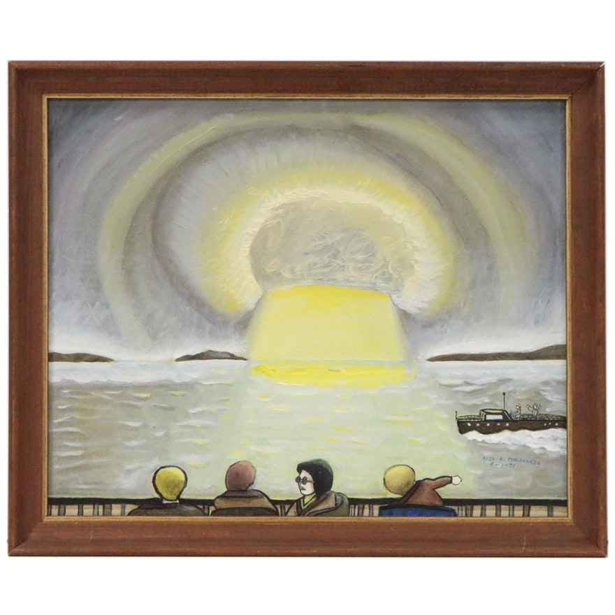 Alexander Maldonado Futuristic Oil Painting of Light in Harbor