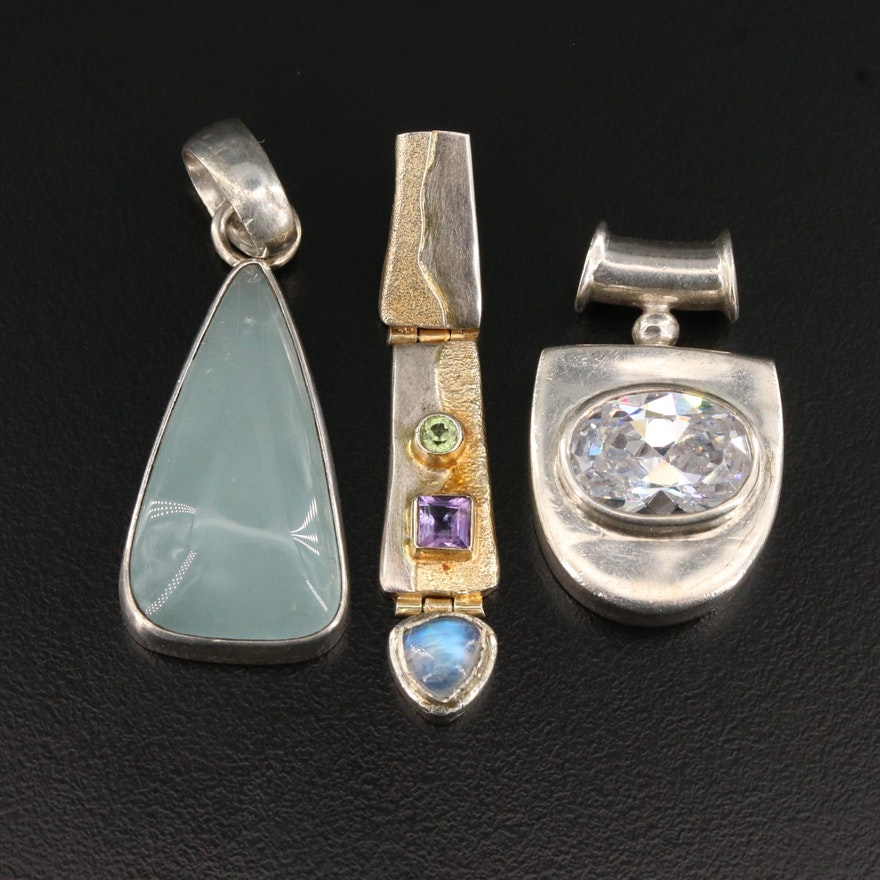 Sterling Silver Multi-Gemstone Articulated and Slide Pendants