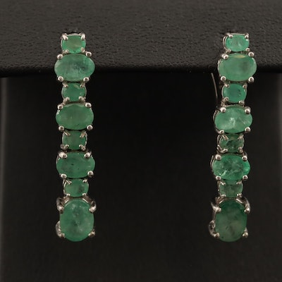 Sterling Silver Emerald Drop Earrings