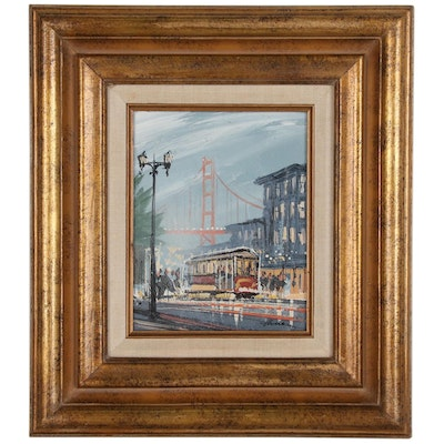 Acrylic Painting of San Francisco Street Scene, Late 20th Century
