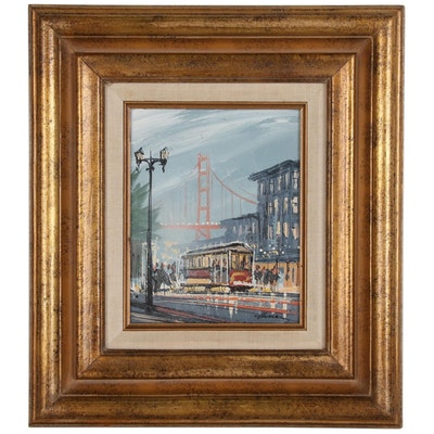 John Checkley Acrylic Painting of San Francisco Street Scene