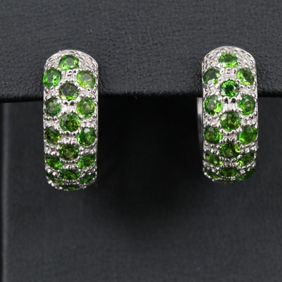 Sterling Silver Diopside Hoop Earrings
