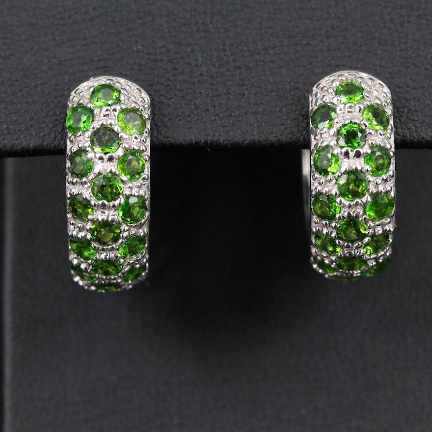 Sterling Silver Diopside Hoop Earrings