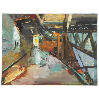 "Leif Janek Acrylic Painting ""On the Bridge"""