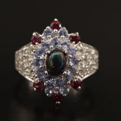 Sterling Silver Garnet, Tanzanite and Opal Cluster Ring