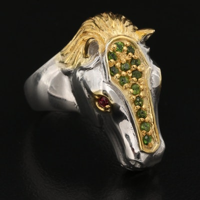 Sterling Silver Garnet and Diopside Horse Head Ring