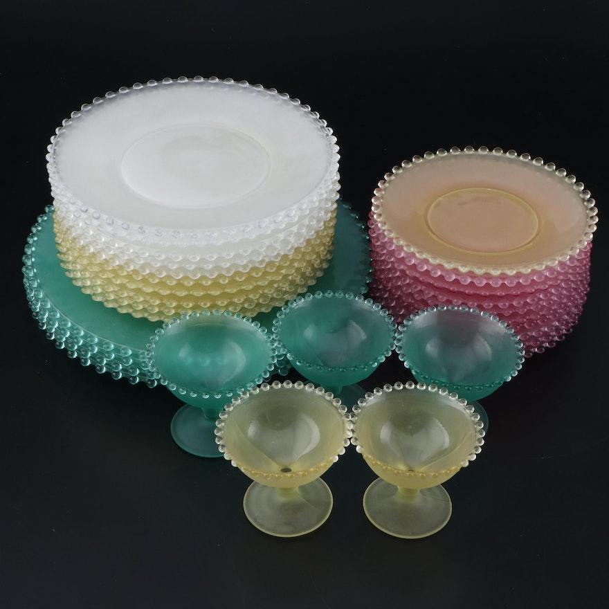 "Viking ""Candlewick"" Satin Glass Dinnerware Pieces, 1996–1999"