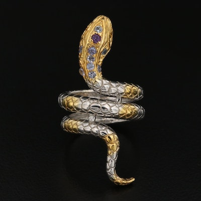 Sterling Silver Snake Ring with Tanzanite, Garnet and Citrine