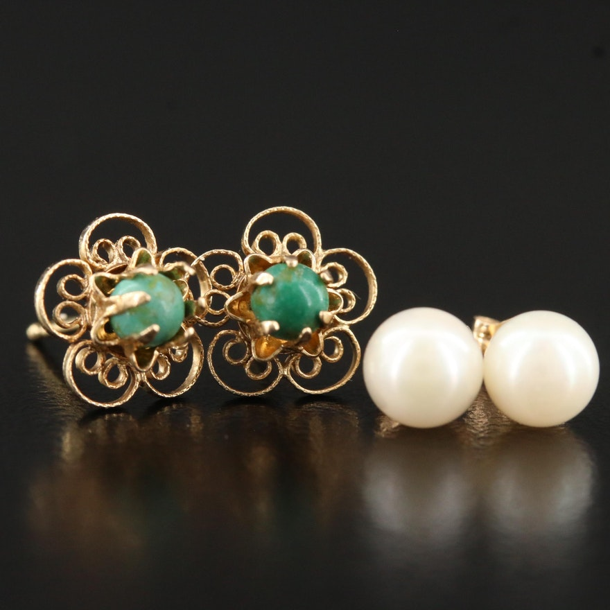 14K Pearl Stud and Turquoise Filigree Earrings