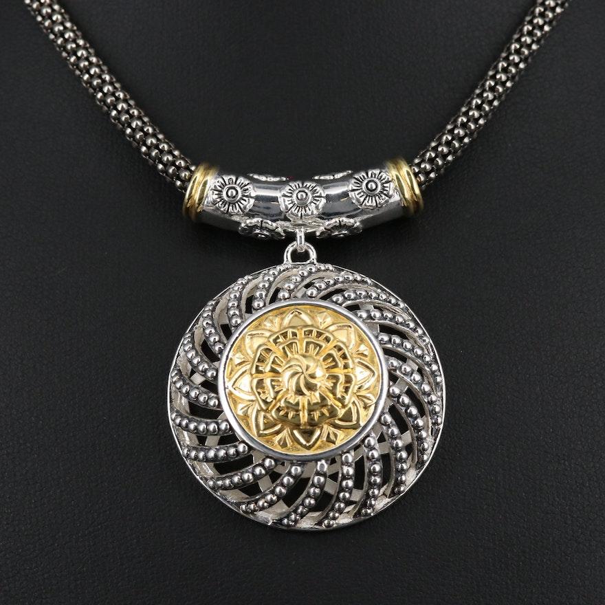 Sterling Silver Floral Medallion Necklace