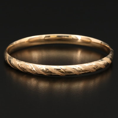 14K Hinged Bangle with Stippling and Diamond Cut Accents