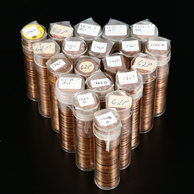 Twenty Rolls of Uncirculated Lincoln Cents, 1955 to 1963