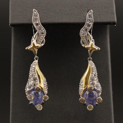 Sterling Silver and Tanzanite Dangle Earrings