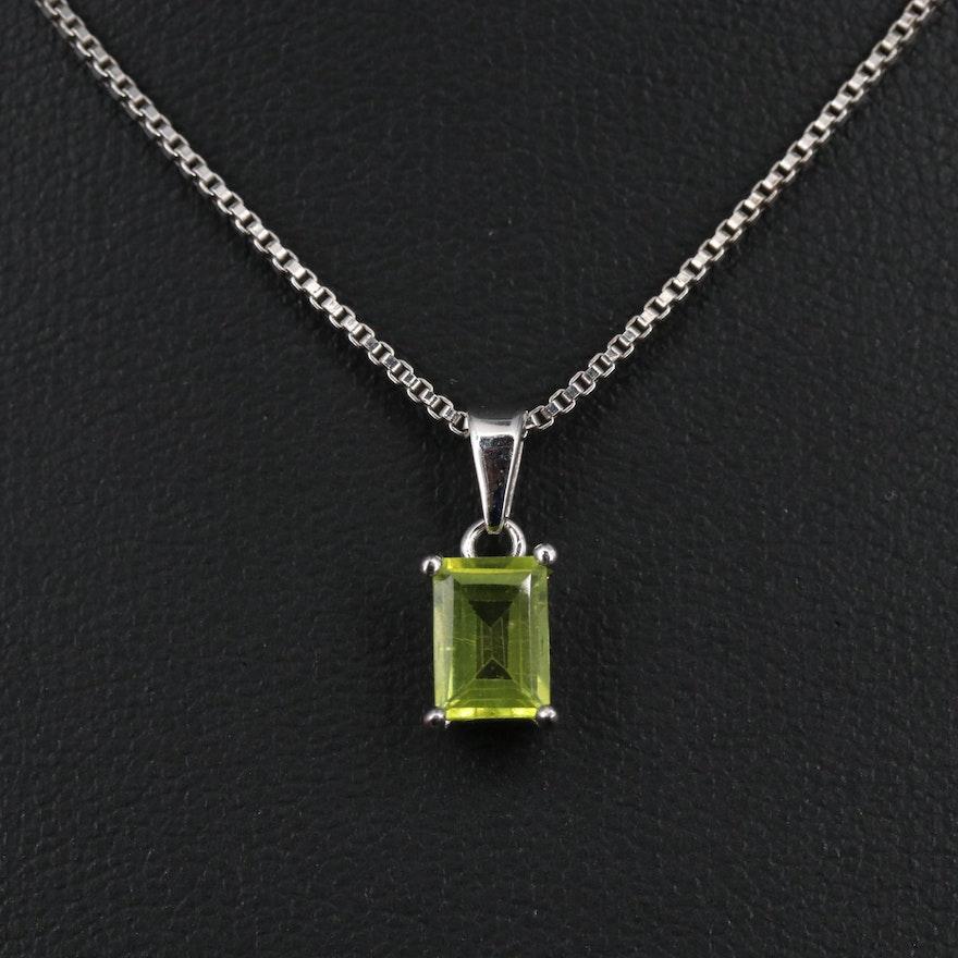 Sterling Peridot Pendant Necklace