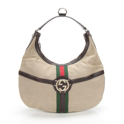 Gucci Webby Canvas Hobo Shoulder Bag with Brown Leather Trim