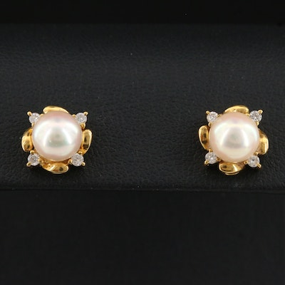 14K Pearl Earrings with Diamond Accents