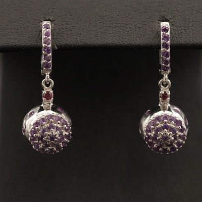 Sterling Silver Amethyst and Garnet Dangle Earrings