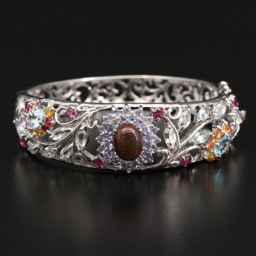 Sterling Silver Opal, Aquamarine and Sapphire Foliate Bracelet